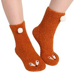 ChicNChic Women Casual Cute Soft Fuzzy Fox Slipper Socks Warm Plush Animal Calf House Socks