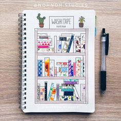 Washi tape has become one of the most popular bullet journal supplies. displaying your washi tape collection in your bullet journal not only looks pretty, Diy Bullet Journal, Bullet Journal Washi Tape, Bullet Journal Spread, Bullet Journal Bookshelf, Bullet Journal Ideas 2018, Bullet Journal Materials, Books To Read Bullet Journal, Journal Layout, My Journal
