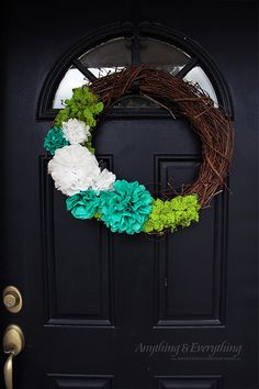 Super Easy Spring Wreath & DIY Tissue Paper Flower Tutorial! - Anything & EverythingAnything & Everything