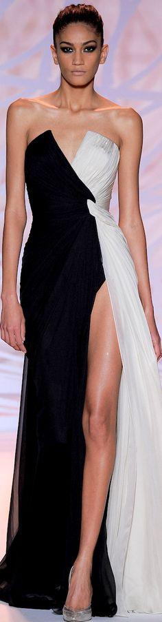Zuhair Murad Couture Collection Fall 2014 | black and white | strapless | slit | asymmetrical | Evening gown | High fashion