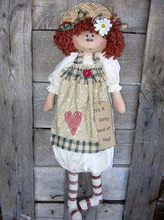 Daisy Day primitive bag doll e pattern by DeenasCountryHearth