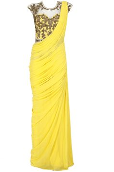 Yellow gold embroidered pre stitched sari-gown available only at Pernia's Pop-Up Shop. Yellow gold embroidered pre stitched sari-gown available only at Pernia's Pop-Up Shop. Saree Gown, Sari Dress, Indian Attire, Indian Ethnic Wear, Indian Dresses, Indian Outfits, Indian Clothes, Indian Designer Outfits, Designer Dresses