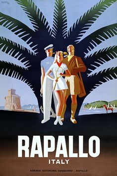 Rapallo, Italy vintage travel poster print  http://www.vintagevenus.com.au/products/vintage_poster_print-tv365