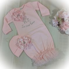 Newborn Girl Coming Home Gown, Hi Im New Here Take Home Outfit, Baby Girl Shower Gift, Newborn Girl Layette Girls Coming Home Outfit, Take Home Outfit, Baby Shower Card Sayings, Elephant Baby Showers, Pink Gowns, Ruffle Romper, Pink Tulle, Girl Shower, Girl Outfits