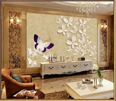 Frete grátis sala de estar sofá quarto fundo TV adesivos papel de parede murais 3d borboleta de cobre Continental(China (Mainland))