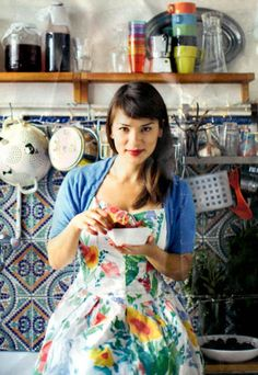 Rachel Khoo. Love her show. Love the dress. Love the tiles even more! Photo: David Loftus. Post via www.elderflowerco.com