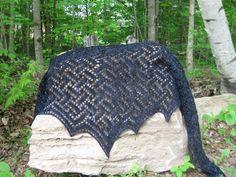 Knit a shawl in navy blue or denim