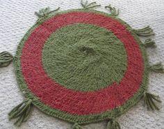 26x26 Crochet Wool yarn Rag Rug  Green Envy by pamelastocker1, $24.00