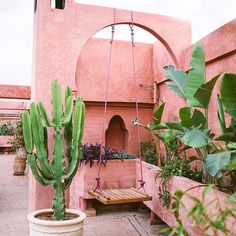 MARRAKECH, MOROCCO - Riad Jardin Secret (pink rooftop, offers a great view and serves vegan + vegetarian meals w/ the finest ingredients from local farmers) Le Riad, Riad Marrakech, Marrakech Gardens, Outdoor Spaces, Outdoor Living, Outdoor Plants, Murs Roses, Morocco Travel, Africa Travel