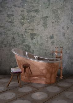 Bijou 1250mm Copper & Nickel - Our Copper collection continues to expand with The Bijou. Our fresh take on a classic, distinctly French single slipper bateau bath first used in 19th Century. Its unusual high ended design adds a touch of 'je ne sais quoi' to the bathing experience. Perfect for smaller spaces. #Bath #Baths #Bathing #Copper #Nickel #Luxury #NewDesign #Decorex #Bespoke #Hurlingham