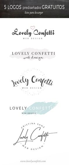 5 free premade logo designs for your website - Lovely Confetti Free Logo Templates, Graphic Design Templates, Custom Logo Design, Custom Logos, Branding, Bakery Logo Design, Blog Logo, Photoshop, Free Graphics