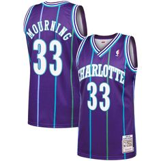 e235719d9caf Men s Charlotte Hornets Alonzo Mourning Mitchell   Ness Purple 1994-95  Hardwood Classics Authentic Jersey