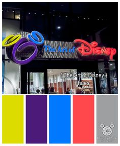 Here are the colors hues of the Art of Disney sign at Epcot in Walt Disney World.