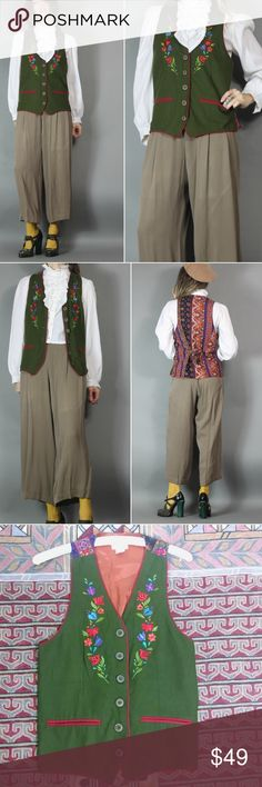 """Vintage Silk Bohemian Vest Oktoberfest Maiden Vintage Silk Vest Bohemian Paisley Embroidered Floral Trim  adorable nods to a German or Austrian folk costume with some twists   George Georgiou  100% Silk  size 4  made in Cyprus   estimated fit xs-m It's a pretty open and flexible fit with rather low arm holes approx mess: armpit 17.5"""" across  length approx 24""""  shown on 5'8"""" size s   Minor snags/imperfections in the fabric just from normal wash/wear. Overall great vintage condition…"""