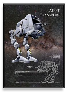 AT-PT Transport Poster, Star Wars Ship, Star Wars Poster, Star Wars Patent, Star…