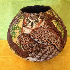 Great Horned Owl and Western Larch Gourd Art by HappyHummerArt