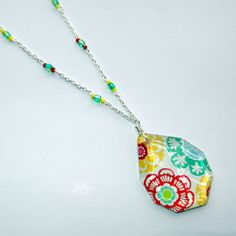 Floral Glass Beaded Necklace by CloudNineDesignz on Etsy, $35.00