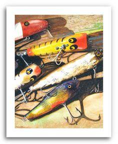Fishing Lures Art Print  Fishing Tackle  Crankbaits  by DonshanArt, $20.00