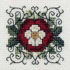 Textile Heritage Heraldic Rose Miniature Cross Stitch Kit, very pretty Biscornu Cross Stitch, Cross Stitch Rose, Cross Stitch Flowers, Blackwork Embroidery, Cross Stitch Embroidery, Modern Cross Stitch Patterns, Cross Stitch Designs, Crochet Cross, Miniature Crafts
