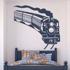 Train Wall Art train wall decal sticker removable railroad wall art | wall decal