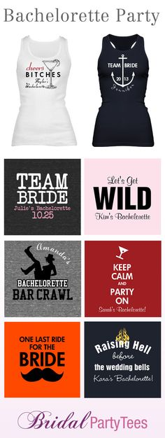 7 Creative Ideas for Bachelorette Party Shirts- I like the one with the anchor for Jess!