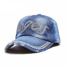 687bc733f70 YanMan 2017 Women Denim Baseball Cap Fashion Gold Artificial Diamond Jewel Girl  Women Snapback Caps Casquette Summer Hat