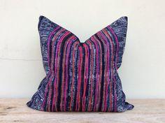"Vintage Ethnic Hmong Homespun Oganic Hemp Batik Hand Woven Pillow Case 20"" x 20""…"