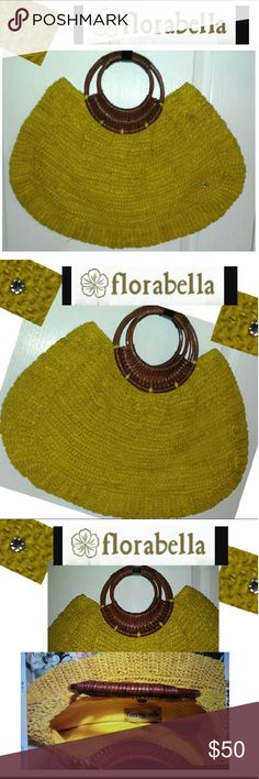 NWOT Fabulous FloraBella Straw Bag Fabulous FloraBella Straw Bag! Color is a pretty yellow pineapple color! NWOT, perfect for spring and summer events or just for the lunch date with the ladies, and occasional trips to the pool or beach! Either way, its PERFECT! Get it now while it is here!! This bag is in MINT condition and has no ware or tear to it what-so-ever, no low offers please, thx! florabella Bags