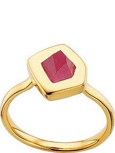 MONICA VINADER Petra gold-plated pink quartz stacking ring