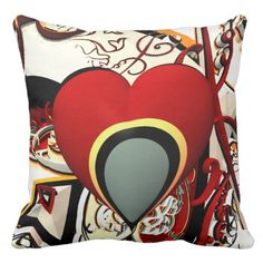 abstract design heart fractal throw pillow - patterns pattern special unique design gift idea diy