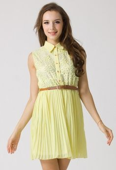 Floral Lace Pleated Dress with Belt