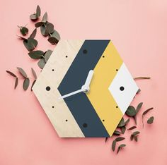 Minimalist southwestern wall clock Hexagonal mid-century wall art Hexagonal wooden decor Geometric w