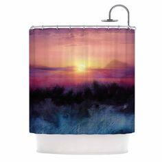 "Viviana Gonzalez ""Calling The Sun IV "" Pink Yellow Shower Curtain"