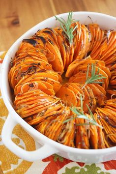 Crispy Roasted Rosemary Sweet Potatoes (Use Mandolin thick slice, otherwise the thin slices are too mushy)