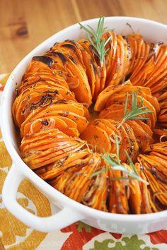 Crispy Roasted Rosemary Sweet Potatoes (Use Mandolin thick slice, otherwise the thin slices are too mushy)