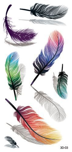 Temporary tattoos are one of the simplest ways to accessorize yourself! Easy to apply. Looks great and they are also conversation starters. Get compliments wherever you go! sheet Each sheet includes: 7 Colorful Temporary Feather Tattoos on 1 sheet Bild Tattoos, New Tattoos, Body Art Tattoos, Cool Tattoos, Tatoos, Flash Tattoos, Sister Tattoos, Watercolor Feather, Feather Painting