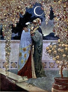Rubáiyát of Omar Khayyám' rendered into English verse by Edward Fitzgerald; illustrated in colour and in line by René Bull. Published 1913 by Hodder and Stoughton.