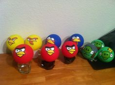 Angry Bird birthday party hand painted balls for angry bird game