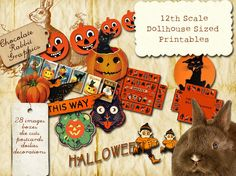 dollhouse miniature vintage halloween collage sheet containing holiday die cut decorations boxes lampshades postcards etcsuper high resolution 500 - Miniature Halloween Decorations