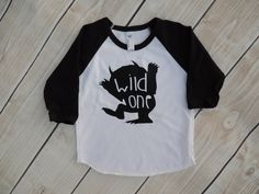Where the wild things are, wild one, first birthday shirt, I'll eat you up, trendy, raglan, baseball tee, toddler boy, baby boy by Our5loves on Etsy