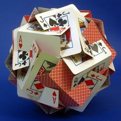 30 playing cards carefully slit and assembled. Website includes other mathematical shapes made from common items.