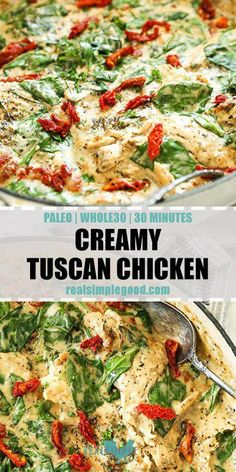 This Paleo + Whole30 creamy tuscan chicken is an easy one pan meal. It's dairy-free, gluten-free and will hit the spot when you want comfort food! This easy dinner comes together in just 30 minutes with all real food ingredients! | realsimplegood.com #paleo #whole30 #onepan #chickenrecipe #dairyfree #glutenfree #healthyfoods