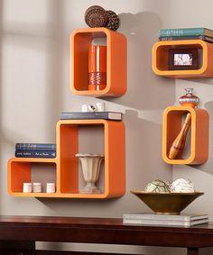 This Orange Tetran Four-Piece Shelf Set by Southern Enterprises is perfect! #zulilyfinds