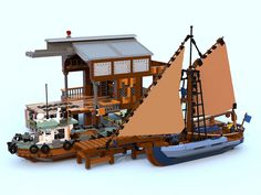 Dom Takes Captain Daniel Fishing With His Old Tugboat Lego Plane, Lego Boat, Lego 4, Steampunk Lego, Lego Village, Amazing Lego Creations, Lego Ship, Lego Design, Lego Worlds
