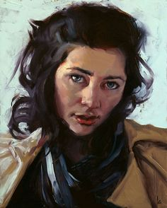 """Daily Paintworks - """"Woman with Scarf"""" - Original Fine Art for Sale - © John Larriva John Larriva, Oil Portrait, Painting Portraits, Portrait Pictures, Colorful Drawings, Figurative Art, Oeuvre D'art, Female Art, Les Oeuvres"""