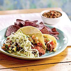 Grilled Flank Steak Soft Tacos with Avocado-Lime Salsa | MyRecipes.com