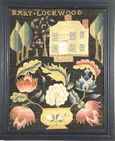 """Mid-18th century Schoolgirl embroidery at the Litchfield Female Academy, Connecticut - """"While some images derived from established designs, many were original and innovative. Some of these needlework pictures featured identifiable buildings, animals & people; others were more whimsical & adventurous."""""""