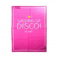 Happy Jackson Hot Pink Washing Up Disco Cotton Tea Towel