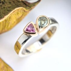 Green and pink sapphire silver and gold ring Gold And Silver Rings, Silver Jewelry, Bespoke Jewellery, Bronze Sculpture, Pink Sapphire, Metal Working, Heart Ring, Green, Metalworking