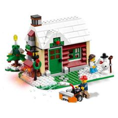 LEGO® Creator Changing Seasons 31038 pieces) - The Changing Seasons summer cottage features a pool, barbecue, light brick and 2 minifigures, and rebuilds into an autumn or winter cottage. Lego Christmas Village, Lego Winter Village, Noel Christmas, Christmas Themes, Christmas Villages, Lego Creator, The Creator, Lego Lamp, Boutique Lego